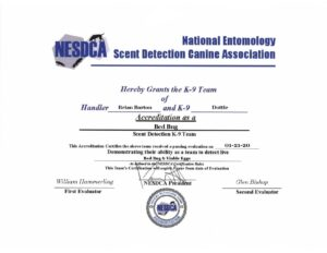 Certification for Brian & Dottie